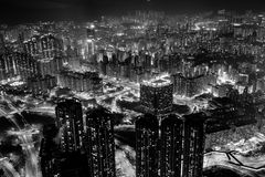 Vue de ville de Hong Kong en noir et blanc Photo stock