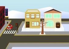 Vue de ville de Noël Illustration de Vecteur