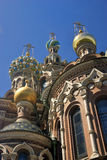 Vue de ville de St Petersburg, Russie Église de sauveur sur le sang renversé Photos stock