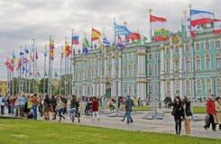 Vue de ville de St Petersburg, Russie Musée d'ermitage Photos libres de droits