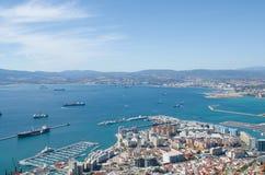 Vue de ville du Gibraltar, baie du Gibraltar ou baie d'Algésiras Image libre de droits