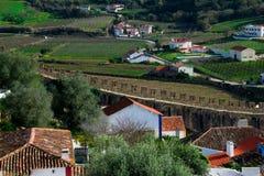 Vue de ville et de murs d'Obidos Images stock
