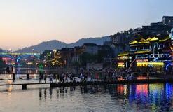 Vue de ville et de rue de nuit de Harbin Chine Photo libre de droits