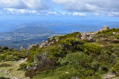 Vue de ville de Hobart de bâti Wellington image stock