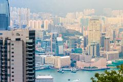 Vue de ville de Hong Kong au crépuscule Image stock