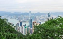 Vue de ville de Hong Kong au crépuscule Photo stock