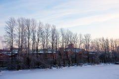Vue de ville industrielle de St Petersburg de remblai L'hiver Photos stock