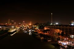Vue de ville de nuit du Malacca, Malaisie photographie stock libre de droits