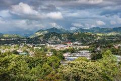 Vue de ville portoricaine rurale dans la vallée Photographie stock