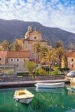 Vue de ville de Prcanj et naissance de notre Madame Church montenegro photo libre de droits