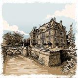Vue de vintage de Chateau de Rosay, Eure, France Photos libres de droits