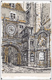 Vue de vintage de rue de Gros Horloge, Rouen illustration stock