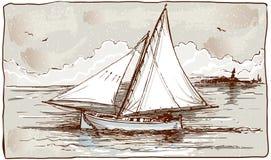 Vue de vintage des bateaux de navigation sur la mer illustration stock
