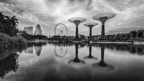 Vue de vintage des jardins par la baie Singapour Images libres de droits