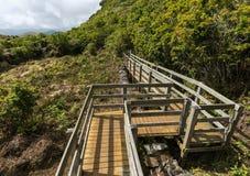 Vue de voie avec les barrières en bois au-dessus des fumerolles, Furnas de Enxofre, Terceira, Açores, Portugal photos libres de droits