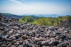 Vue de Volcano Etna avec des pierres de lave Image libre de droits
