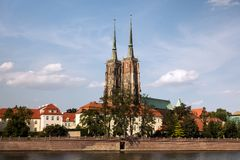 Vue de Wroclaw à l'île de Tumski et à la cathédrale de St John Baptist Poland images libres de droits