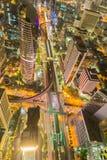 Vue de yeux d'oiseau d'intersection principale du trafic de Bangkok Photographie stock libre de droits