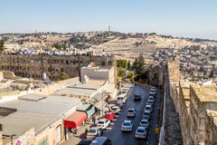 Vue de Zion Gate à Jérusalem, Israël Photos stock