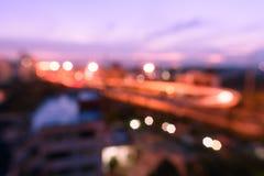 Vue Defocused de paysage urbain ou de ville avec le ciel doux de couleur en pastel Photos stock