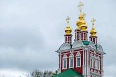 Vue des églises dans la place de cathédrale à l'intérieur du Kremlin photo stock