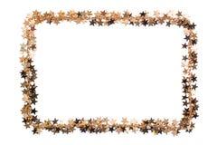 Vue des étoiles des confettis Perles d'or des étoiles d'éclat Décor de fête sur le blanc Images libres de droits