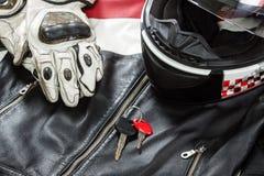 Vue des accessoires de cavalier de moto Image stock