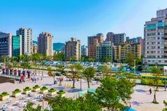Vue des bâtiments dans le secteur financier de Xinyi Images libres de droits
