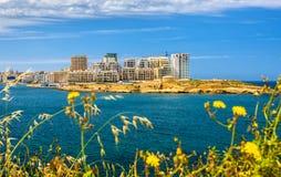 Vue des bâtiments résidentiels dans Sliema Image libre de droits