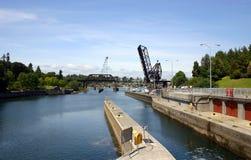 Vue des blocages de Chittenden dans Ballard Photos stock
