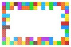 Vue des blocs constitutifs en plastique colorés, rendu 3D Photo stock