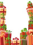 Vue des boîte-cadeau de boîte-cadeau Cadeaux de montagne de trois côtés Belle boîte de cadeau de Noël avec l'arc Calibre de vecte illustration libre de droits