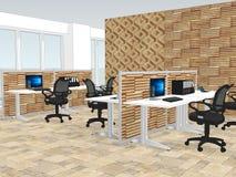 Vue des bureaux avec a avec le panneautage en bois de mur Image stock