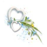 Vue des cadres sous la forme de coeurs avec des feuilles et des fleurs bleues et jaunes Photos stock
