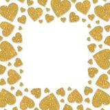 Vue des coeurs brillants en métal d'or Frontière de poudre de scintillement pour le jour du ` s de StValentine Photos stock