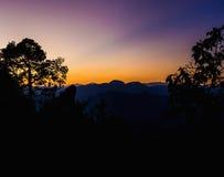 Vue des crêtes de montagne, panorama tropical conifére de forêt image libre de droits