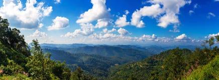 Vue des crêtes de montagne, panorama tropical conifére de forêt photographie stock