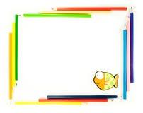 Vue des crayons avec des poissons Photographie stock libre de droits