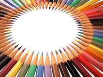 Vue des crayons colorés dans la forme de cercle Photo libre de droits