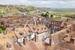 Vue des dessus de toit de la ville historique de Cinque Port de Rye photographie stock libre de droits