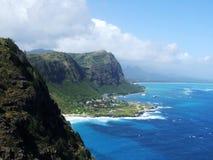 Vue des falaises de la surveillance de point de Makapuu, Oahu, Hawaï Image libre de droits