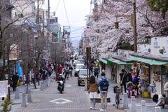 Vue des fleurs de cerisier à Sanjo Dori Street à Nara Image stock