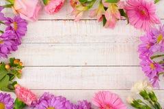 Vue des fleurs roses et pourpres contre le bois blanc Images stock
