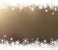 Vue des flocons de neige sur le fond brun illustration de vecteur