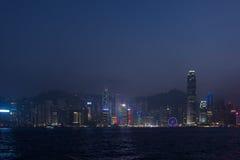 Vue des gratte-ciel au centre d'affaires de la ville et de Vic de Hong Kong Image libre de droits