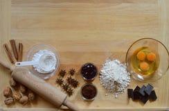 Vue des ingrédients de cuisson photos stock