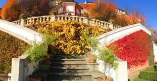 Vue des jardins sous le château de Prague Photos stock