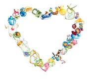 Vue des jouets et des objets de soin Ensemble de bébé Illustration peinte à la main d'aquarelle illustration libre de droits