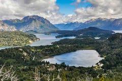 Vue des lacs, Bariloche, Argentine Photo stock