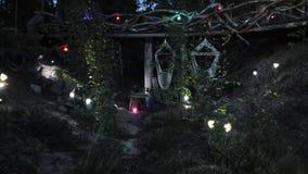 Vue des lampes-torches colorées dans la nuit en bois hamacs nature Timelapse banque de vidéos